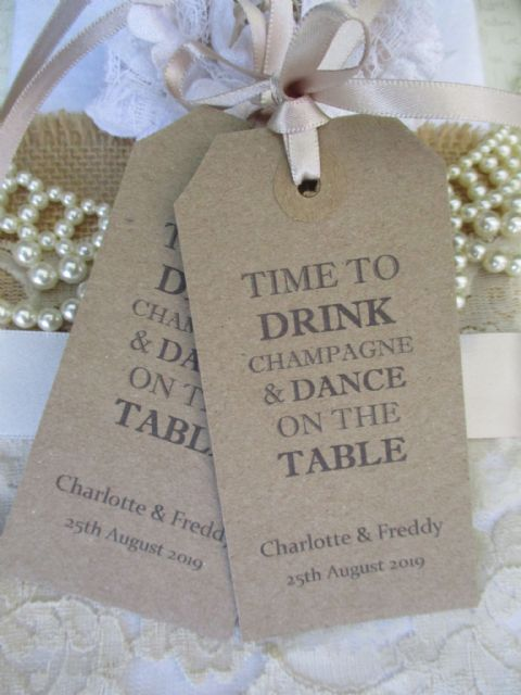 10 Time To Drink Champagne - Celebration Wedding Tag Kraft